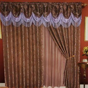 Jacquard Curtain with Valence Taupe Color